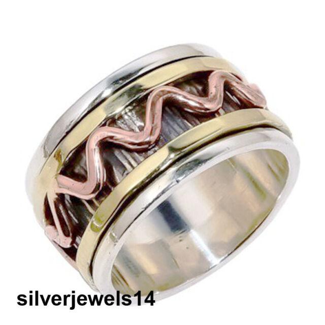 Solid 925 Sterling Silver Spinner Ring Meditation Ring Statement Handmade HA6887