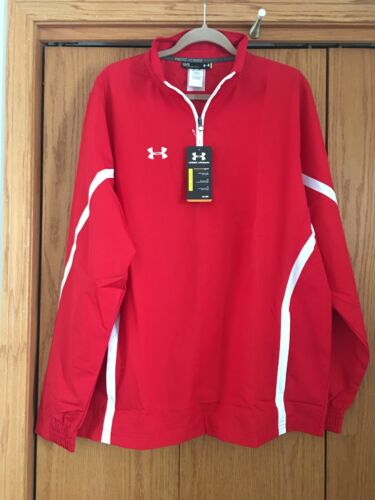 NWT Under Armour UA Team Men 1//4 Zip Pullover Jacket Red White Size Large