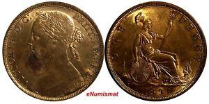 Great-Britain-Victoria-1837-1901-Bronze-1891-1-Penny-KM-755