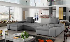 Wohnlandschaft Wohnzimmer Leder Sofa Couch Polster Sitz Ecksofa