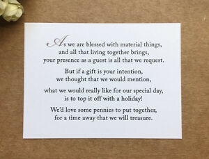 Wedding Poem Card Inserts Wedding Invitations Money Cash Gift Honeymoon
