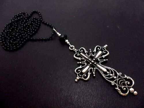 """A LARGE MADONNA STYLE  CROSS BLACK BALL CHAIN NECKLACE 26/"""" LONG NEW. GOTH"""