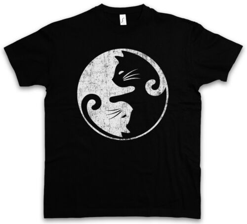 Cats Yin /& Yang T-shirt and Cat Circle symbole Sign Fun Lover Love