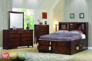 Details about Hillary Queen Storage Bed 4 Piece Bedroom Furniture Set  Dresser Mirror & Chest