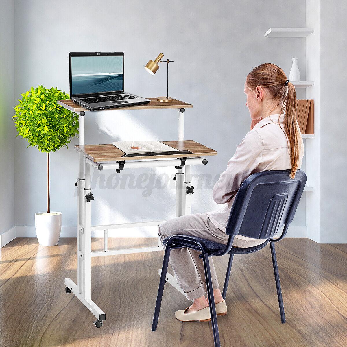Sit /& Stand Mobile Workstation Home Rolling Desktop PC Desk Computer Table