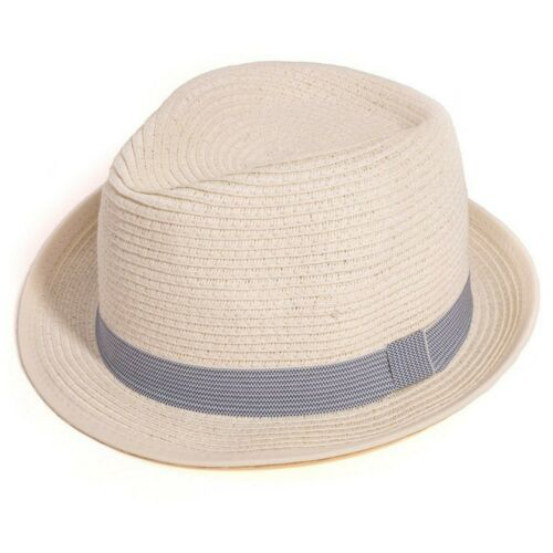 Adults Unisex Straw Crushable Summer Sun Trilby Hat with Stripey Band
