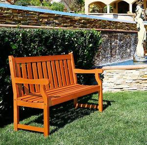 Image Is Loading Wood Outdoor Bench 2 Seat Eucalyptus Garden Yard