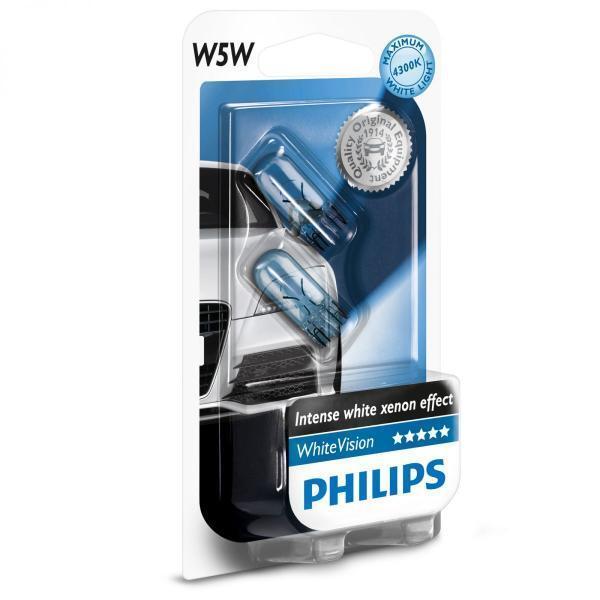 PHILIPS T10 W5W 12V 4300K WHITE VISION WHITE LIGHT HALOGEN REGO PARKER
