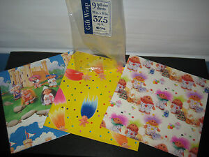 """Vintage Troll Doll Flat Gift Wrapping Paper 3 Styles 9 Sheets 20""""X30"""" 37.5 sg ft"""