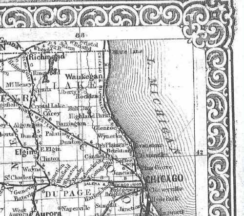 1861 IL MAP Danville Darien Decatur Deerfield Des Plaines Dixon Dolton ITS HUGE