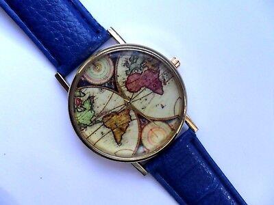 Unusual World Map Gold Faced Quartz Watch Blue  Strap