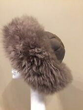 Gorgeous Grey Suede/Shearling/Sheepskin Cossack Ladies Hat M