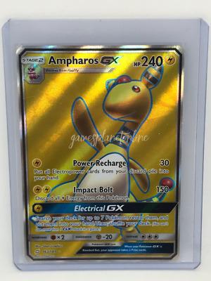 SM09-163 Full Art Pokemon Team Up Card # 163 Ampharos GX