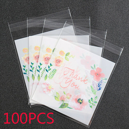 100pcs//set Plastic Thank You Cookie Package Candy Bag Self-Adhesive 4 Sizes New