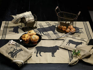 primitive-country-farmhouse-CATTLE-cow-Placemats-Table-Runners-Dish-Towels