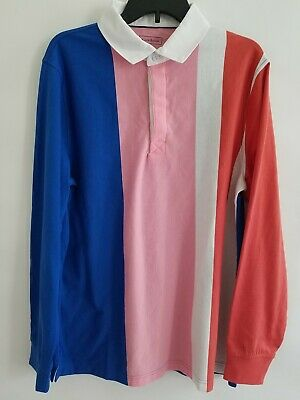 Club Room Mens L Multicolor Vertical Stripe Covered Placket Long Sleeve Shirt