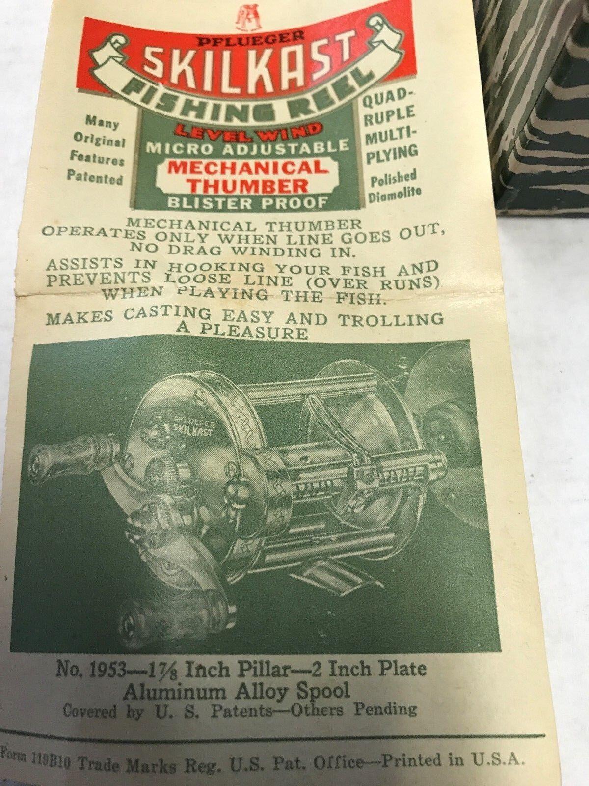 PFLUEGER SKILKAST FISHING REEL    1953 W BOX & PAPERS, 60+ YEARS, AMAZING SHAPE  8caee1