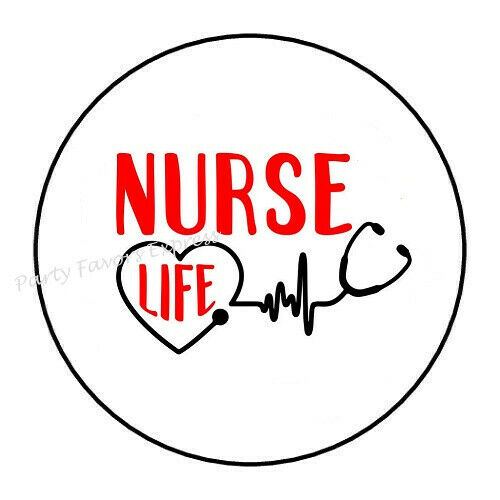 "30 NURSE LIFE ENVELOPE SEALS LABELS STICKERS 1.5/"" ROUND"
