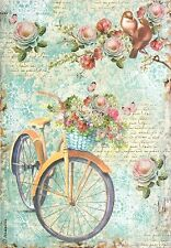 Rice Paper for Decoupage, Scrapbook Sheet, Craft Paper Bike & Branch & Flowers