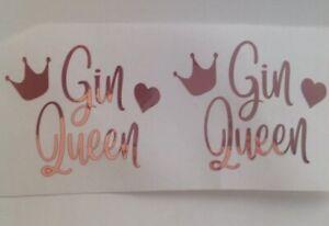 wine glass Vinyl Decal Gin Queen X2