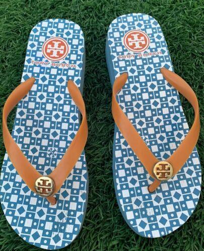 TORY BURCH Logo Platform Flip Flop Sandals. Rubber