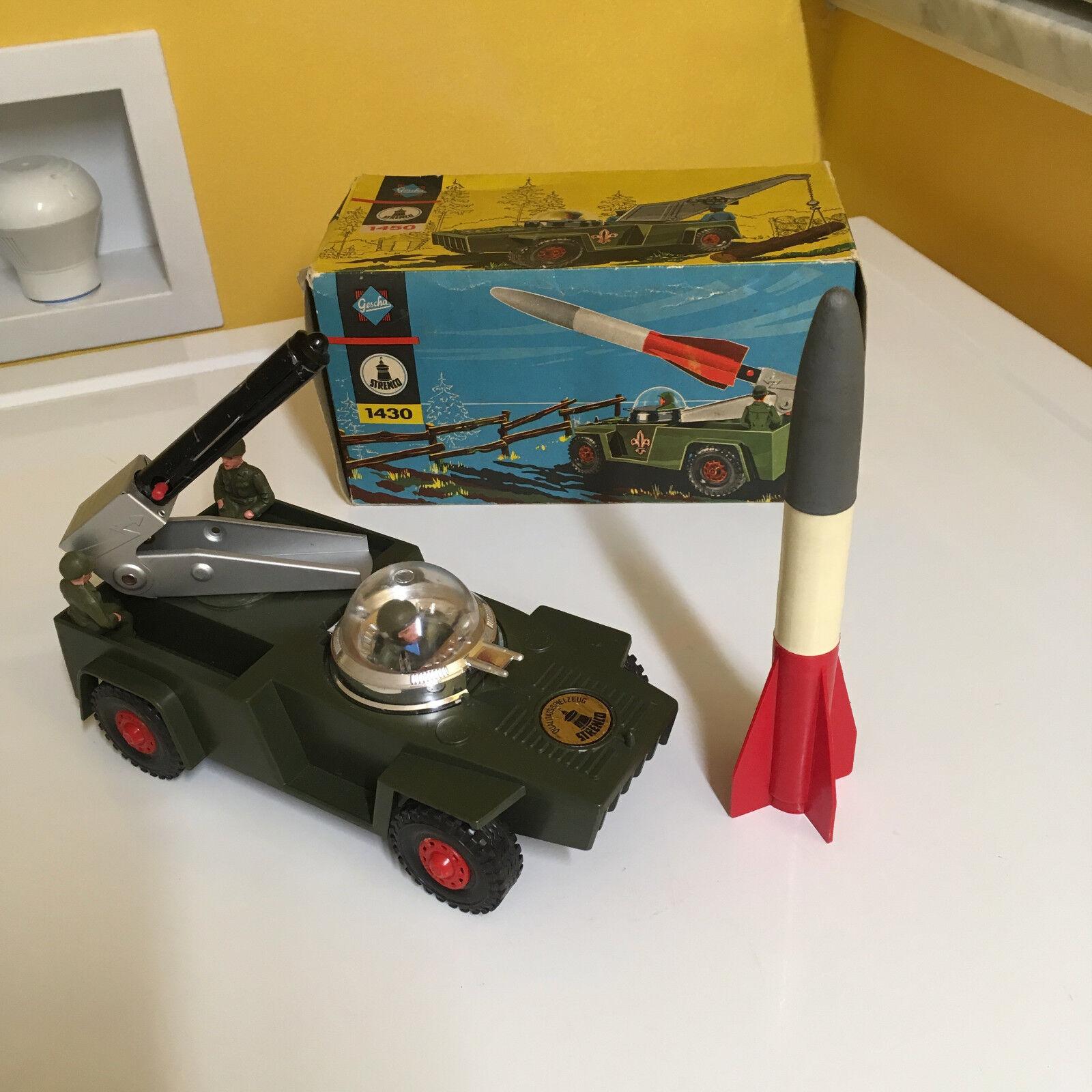Vintage Gescha Strenco cohete de transporte en la tecnología de la información es la caja original. W. Alemania Funcionando