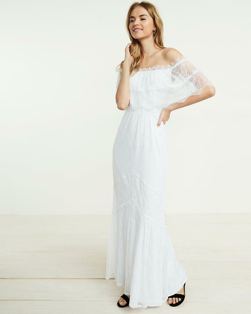New EXPRESS tropical true white off shoulder maxi lace dress xs wedding