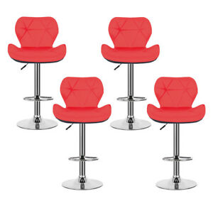 Groovy Details About 4Pc Bar Stools Modern Pub Chair Kitchen Leather Breakfast Seat Swivel Red Black Machost Co Dining Chair Design Ideas Machostcouk