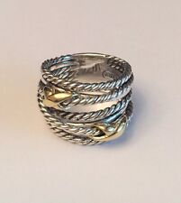 David Yurman Double X Crossover Ring With 18k Gold Size 8