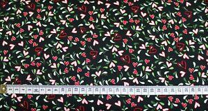 0-5-m-Baumwollstoff-schwarz-mit-Herzen-Webware-140-cm-breit