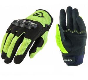 Guanti Moto Protezioni Nocche Acerbis Ramsey Nero Giallo Fluo Black Gloves Tg Xl