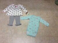 Infant Girls Child Of Mine Nb Or 69m Cotton Panda And Bows 3-piece Set