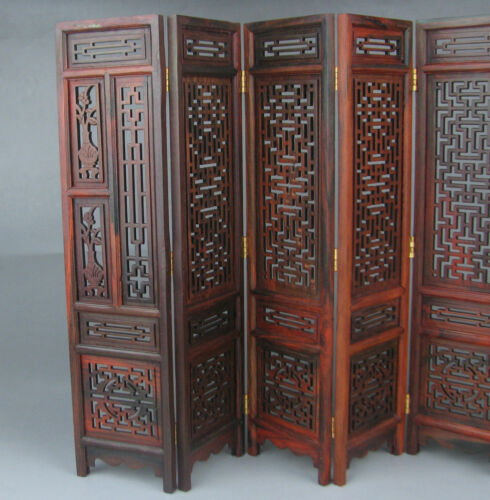 "China rosewood suanzhi wood carved flower design small folding screen 9.7/"" H NRp"