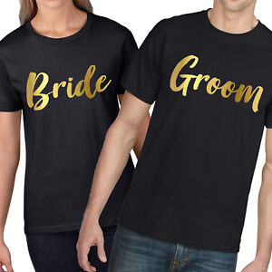 51d7e5b1a3 Image is loading Bride-Groom-GOLD-Matching-Couples-T-Shirt-Valentines-