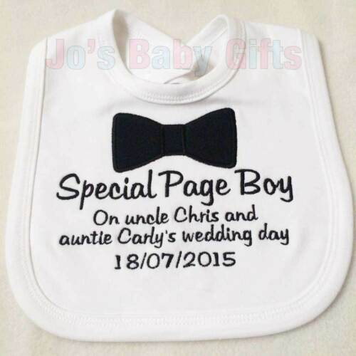 Baby//Toddler Gift Personalised Page Boy Wedding Day Bib Embroidered