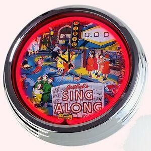 "N-0769 Wall Clock "" Pinball Sing Along Gottlieb 1967 "" Neon Kitchen Deco Game"