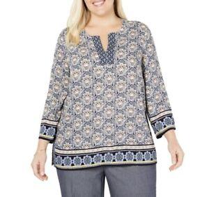 SIZE-2X-Charter-Club-Women-s-Plus-Paisley-Boho-Chic-Tunic-Top-Blouse-Shirt-NWT