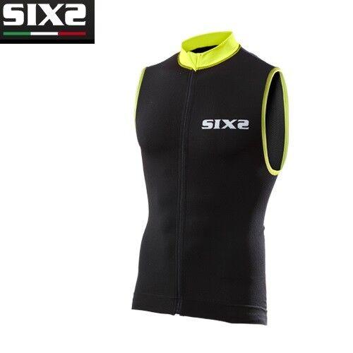 Trikot Ärmellos Trägerhemd Fahrrad Jersey SIXS schwarz gelb BIKE2 Streifen  | Adoptieren