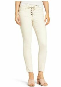 Blank-NYC-Jeans-27-Lace-Up-Skinny-Slim-Ivory-Stretch-Ankle-Denim-Pants-Womens
