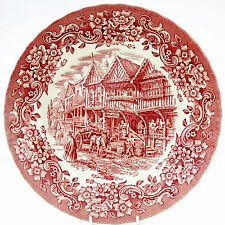 Vintage Royal Tudor Ware 17th Century England Tavern Inn Red White Dinner Plate