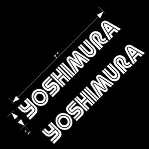 "YOSHIMURA Stickers WHITE 7"" Long racing sponsor SET of 2 gsxr 600 decal 750 1000"