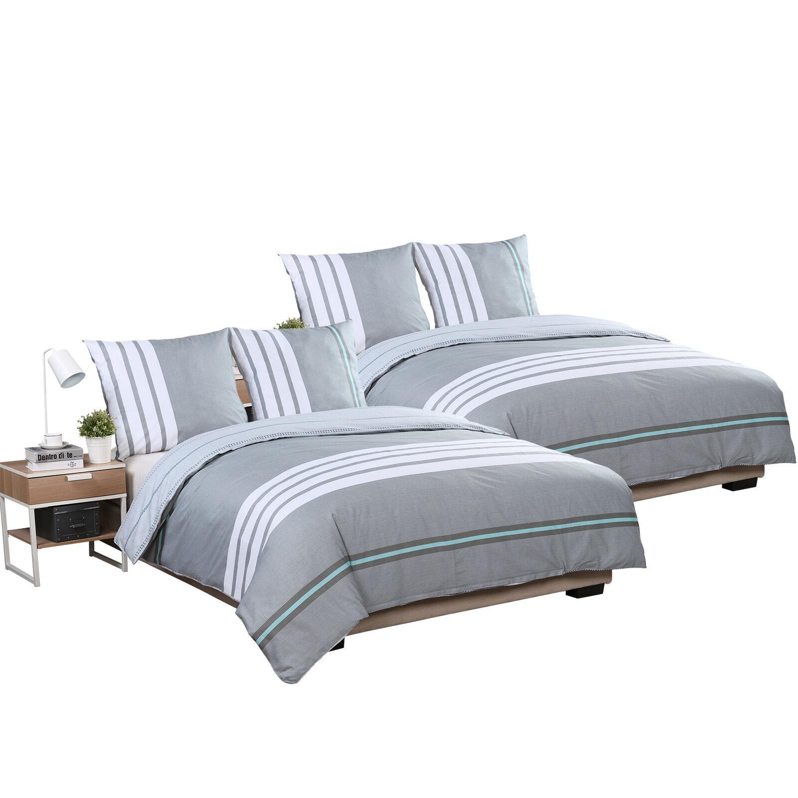 Bettwäsche Bettgarnitur Bettbezug Satin Baumwolle 155x220 cm 4teilig BWS01m02-2