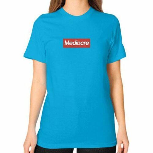 Funny SUPREMELY MEDIOCRE Mens Streetwear Fashion Box Logo Parody Unisex Tee