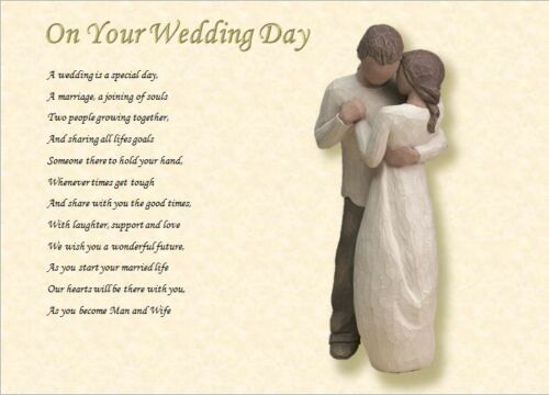 ON YOUR WEDDING DAY for Bride and Groom personalised poem