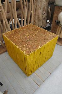 Tisch Couchtisch Loungetisch 63cm Gelb Holz Beistelltisch Möbel Asia