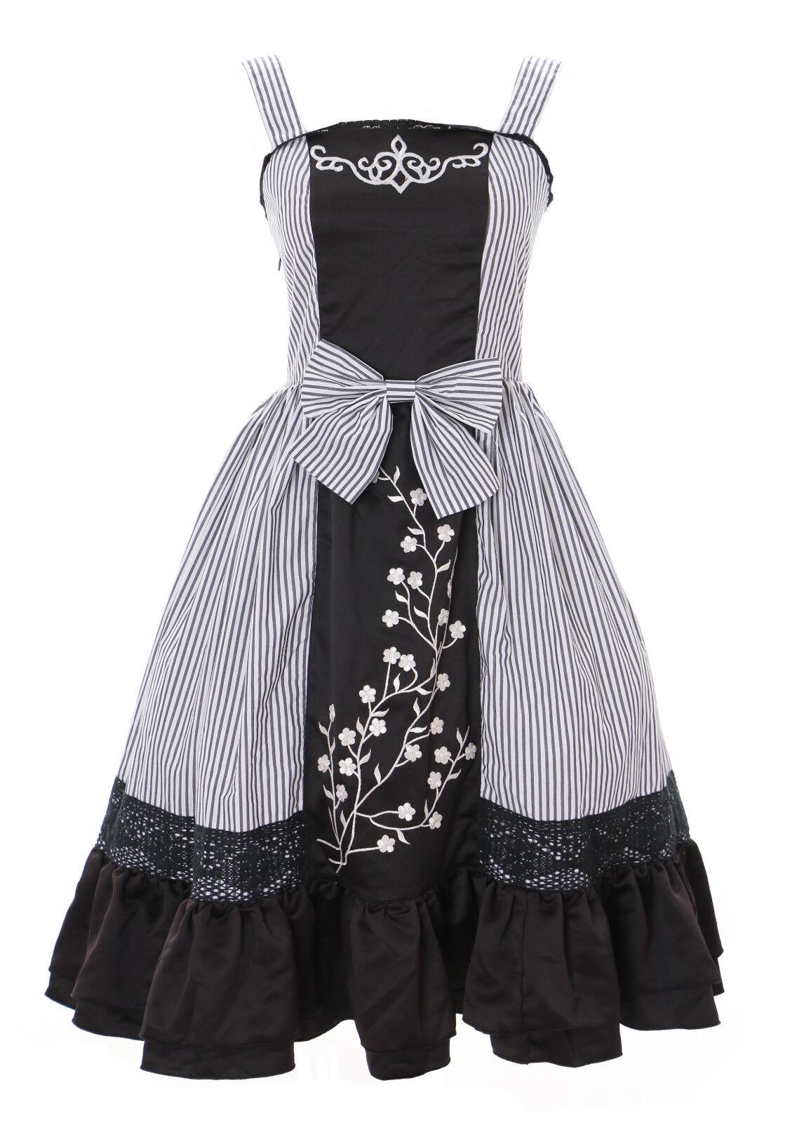 JL-641 schwarz gestreift Dark Gothic Lolita Kleid Kostüm dress Cosplay stretch