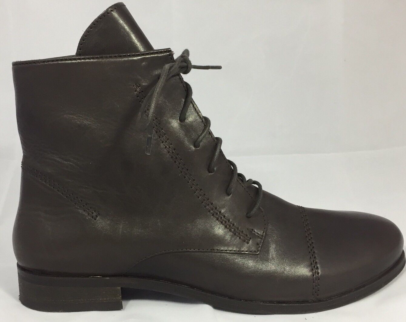 New Sketchers MOD Chocolate Leather Women Combat Military Boots 7.5 Lace Block