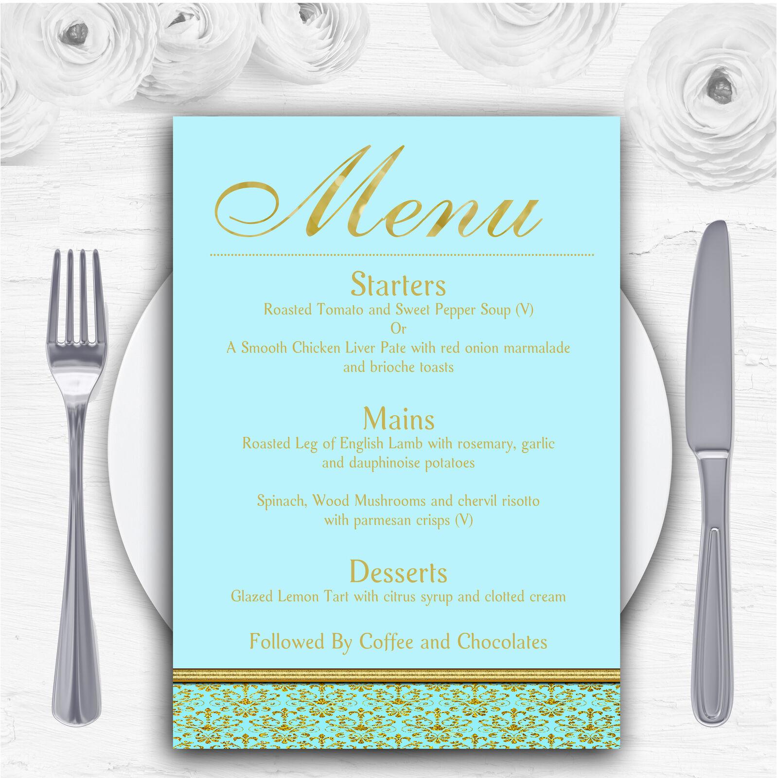 Aqua Sky Blau & Gold Vintage Damask Personalised Wedding Menu Cards
