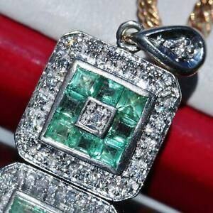 14k-white-gold-pendant-0-75ct-Colombian-emerald-diamond-invisible-set-charm-2-1g