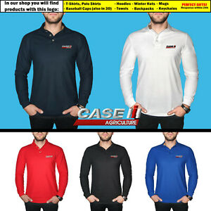 Case-IH-Agriculture-Long-Sleeve-Polo-T-Shirt-COTTON-EMBROIDERED-Logo-Mens-Gift